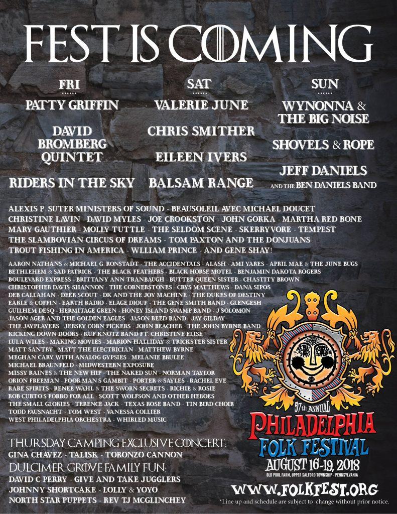 Philadelphia Folk Festival 2020.57th Philadelphia Folk Festival Lineup Philadelphia